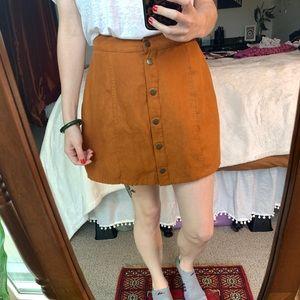 Light brown button mini skirt